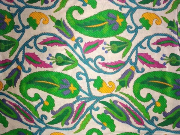 Green Paisley Printed Glazed Cotton Fabric for Multipurpose use (per meter price) GC008