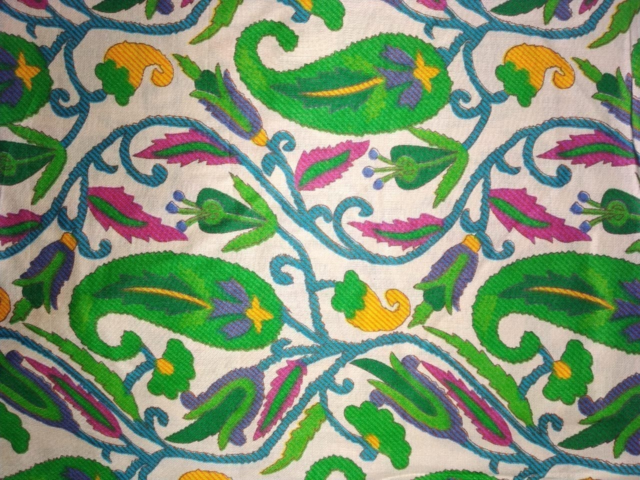 Green Paisley Printed Glazed Cotton Fabric for Multipurpose use GC008 1