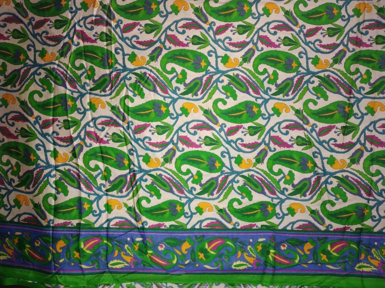 Green Paisley Printed Glazed Cotton Fabric for Multipurpose use GC008 2