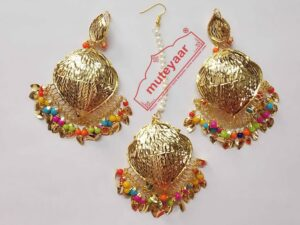 Cut Work Golden Polished Traditional Punjabi Jewellery Earrings Tikka set J0432