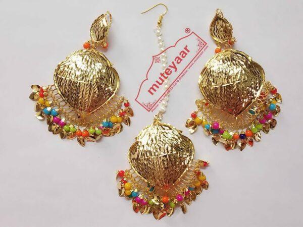 Cut Work Golden Polished Traditional Punjabi Jewellery Earrings Tikka set J0432