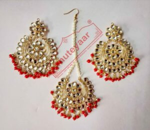 Red Moti Beads Golden Polished Kundan Work Necklace Earrings Tikka Set J0437