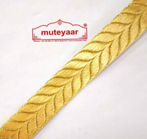 Golden Self Leaves Gota Lace Kinari Border for Dupatta Saree & Suit (per meter price)LC180