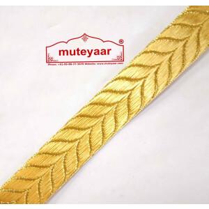 Golden Self Leaves Gota Lace Kinari Border for Dupatta Saree & Suit (per meter price) LC180