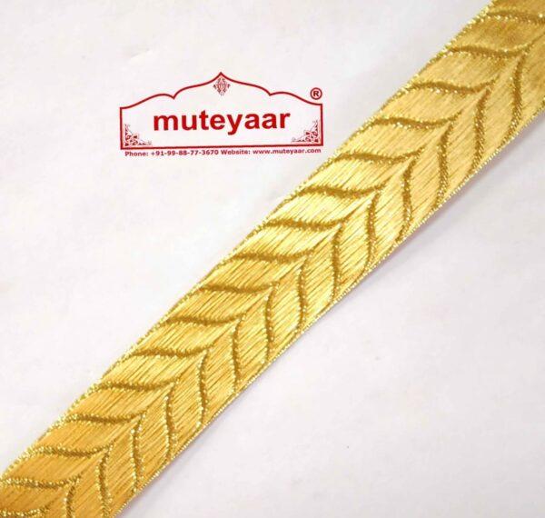 Golden Self Leaves Gota Lace Kinari Border for Dupatta Saree & Suit (per meter price)LC180