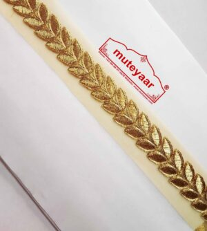 Golden Designer Leaves Gota Lace width 1 inch Roll of 9 mtrs. LC181