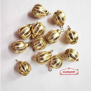 12 pieces Lot of Golden Ball Gota Patti Latkans Dangle Size 20 mm LK081