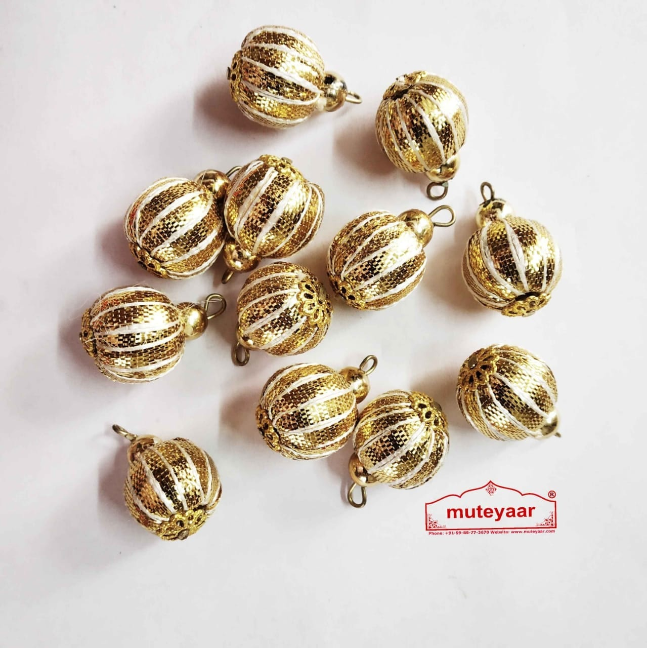 12 pieces Lot of Golden Ball Gota Patti Latkans Dangle Size 20 mm LK081 1