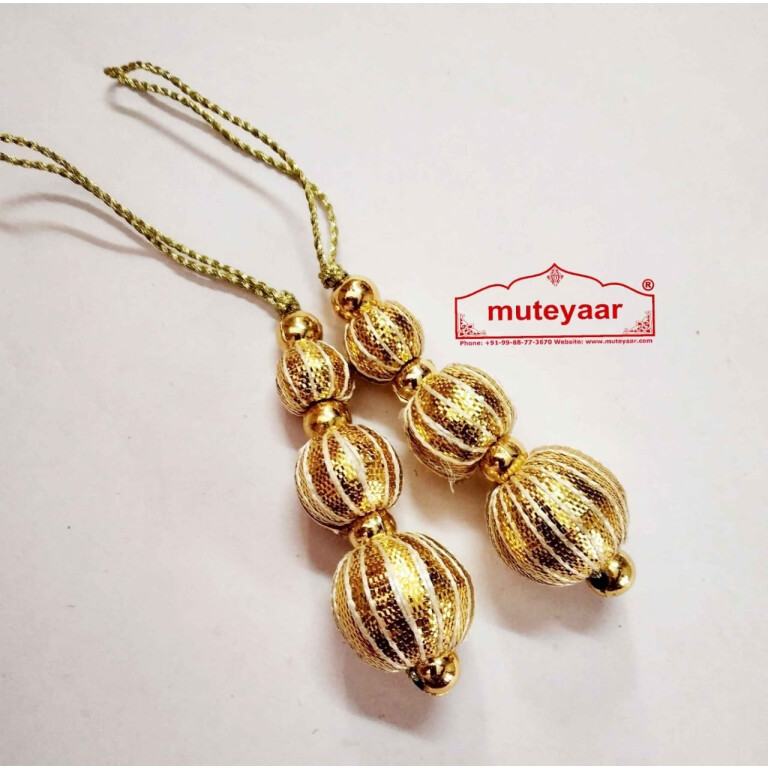 Golden Balls Gota Patti Latkans Dangle Pair Size 2 inch long LK082