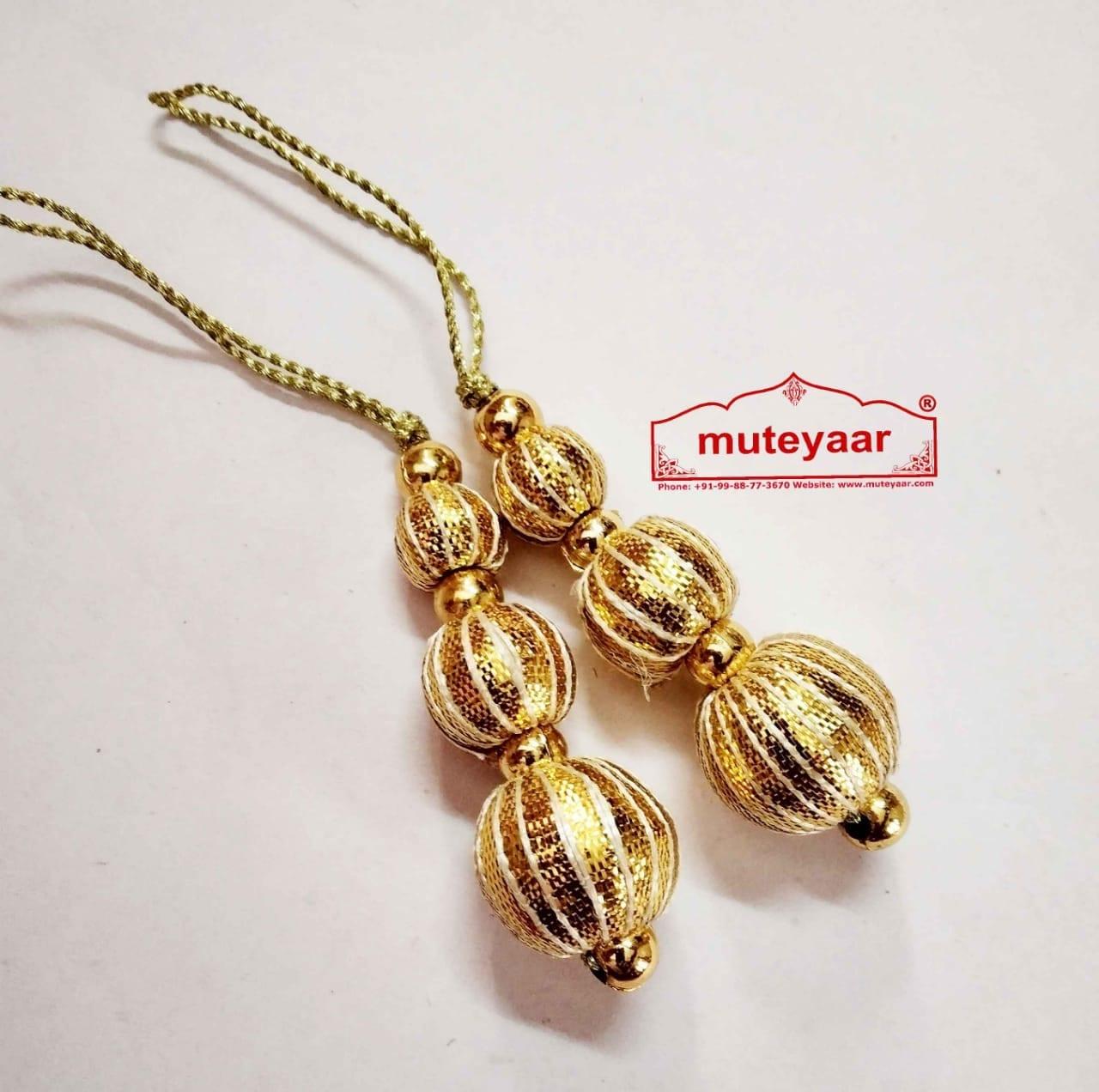 Golden Balls Gota Patti Latkans Dangle Pair Size 2 inch long LK082 1
