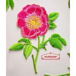 Pink Flower Embroidered Motif Badge for multipurpose use MT0022