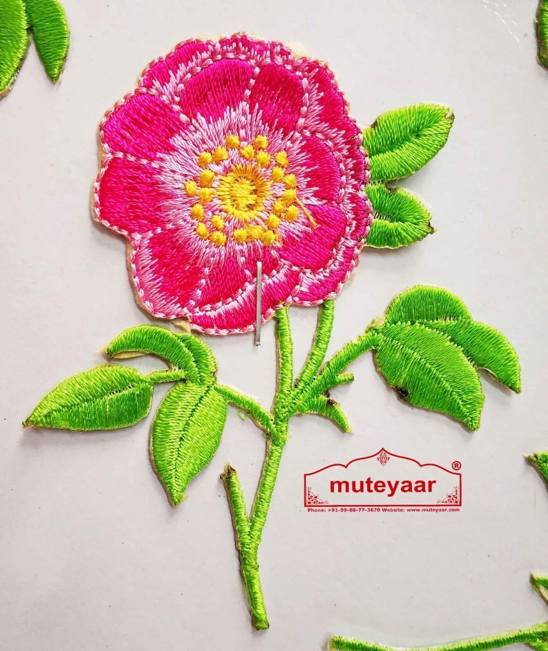 Pink Flower Embroidered Motif Badge for multipurpose use MT0022 1