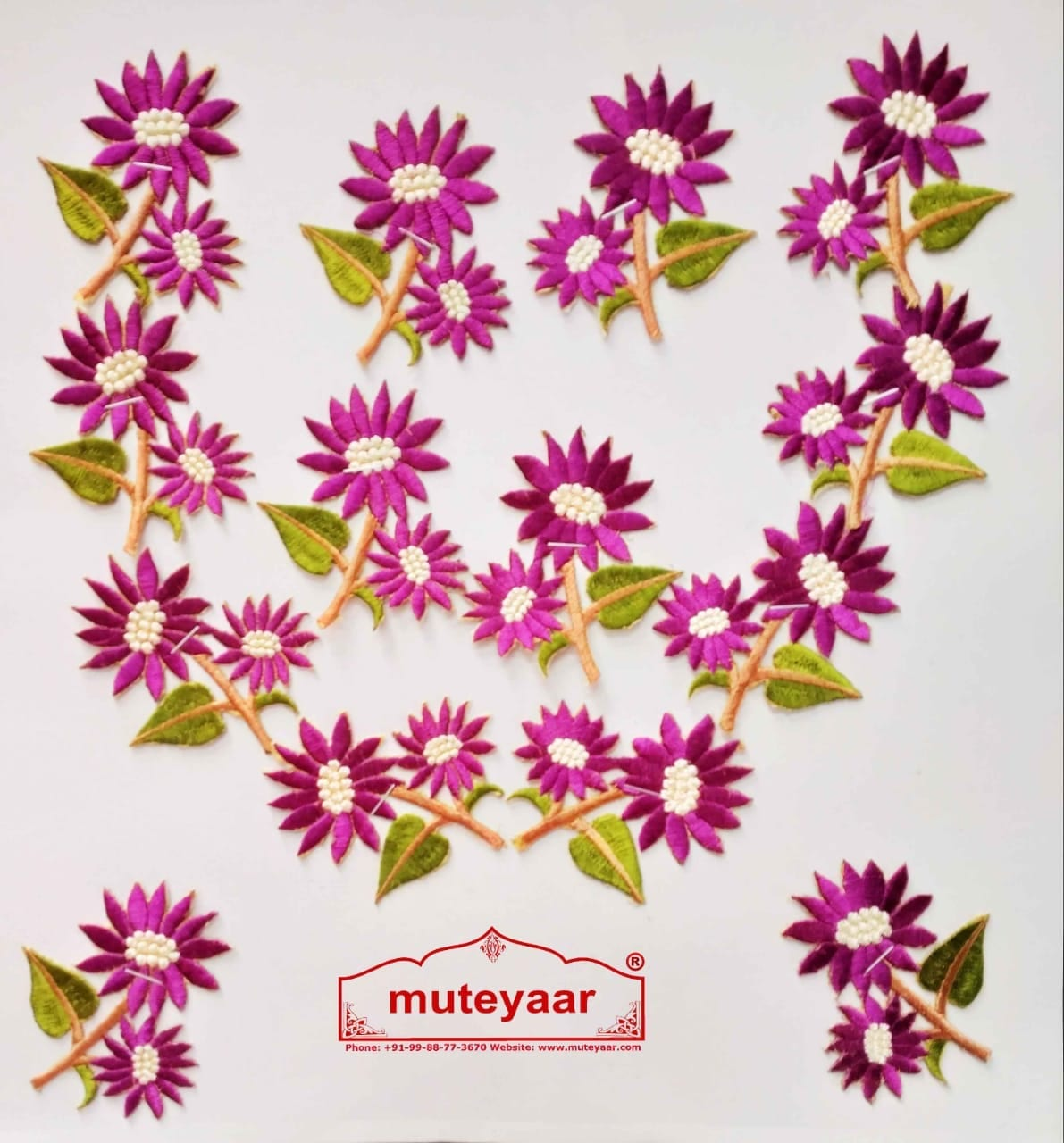 Purple Flowers Embroidered Motif Badge for multipurpose use MT0023 1