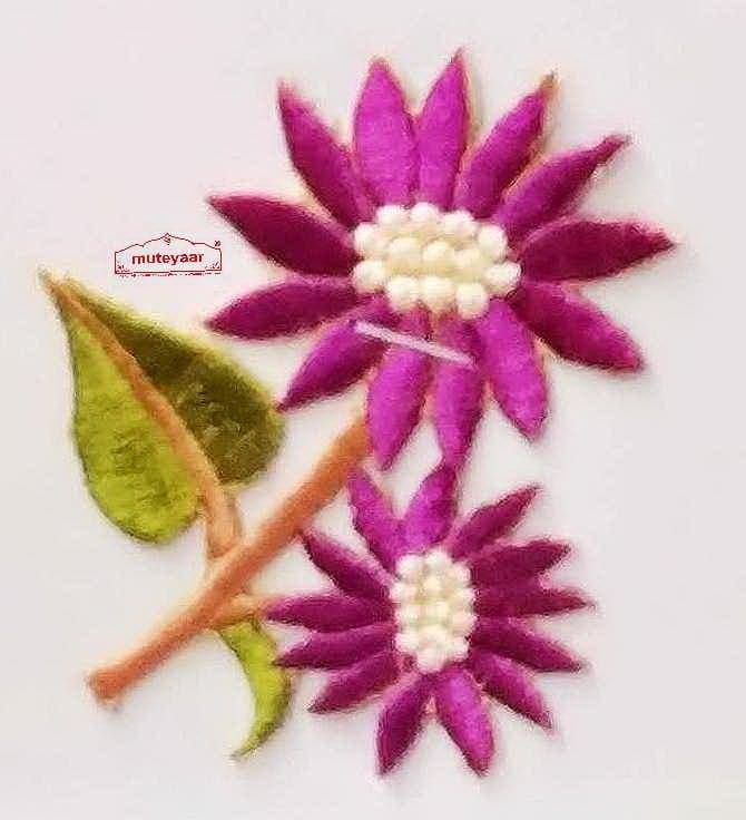 Purple Flowers Embroidered Motif Badge for multipurpose use MT0023 2