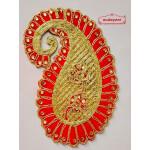 Zari Zircons Thread Embroidered Ambi Paisley Motif for multipurpose use MT0025