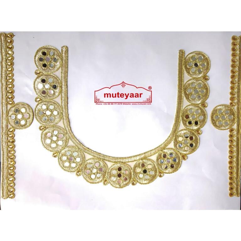 Golden Zari Round Neck Patch with Mirror Kundan Work for Kurti MT0028