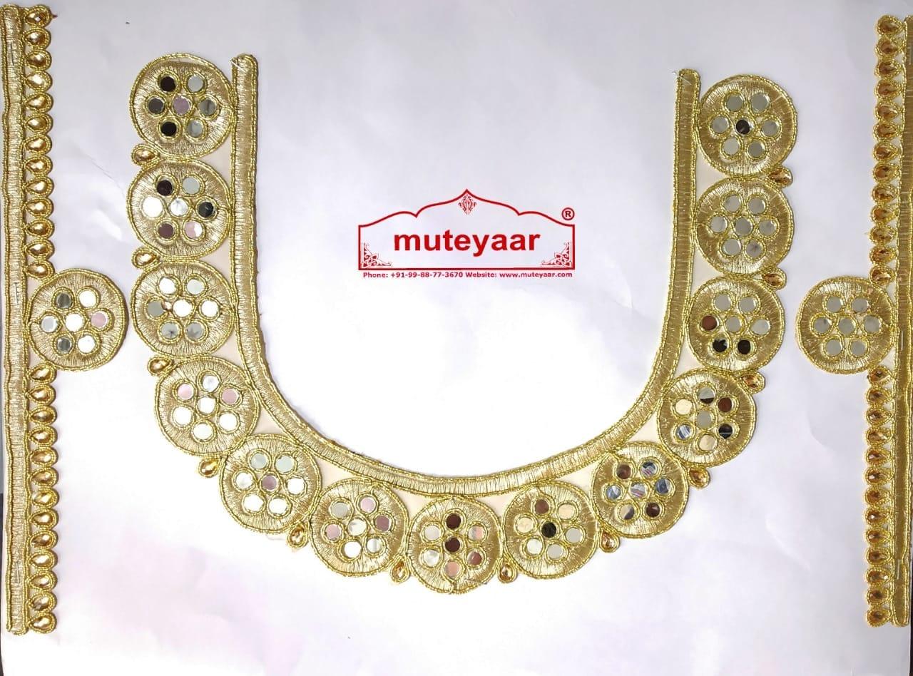 Golden Zari Round Neck Patch with Mirror Kundan Work for Kurti MT0028 1