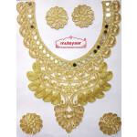 Golden Zari Neck Patch with Mirror Work for Kurti MT0029