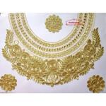 Golden Zari Round Heavy Neck Patch with Kundan Work for Kurti MT0030
