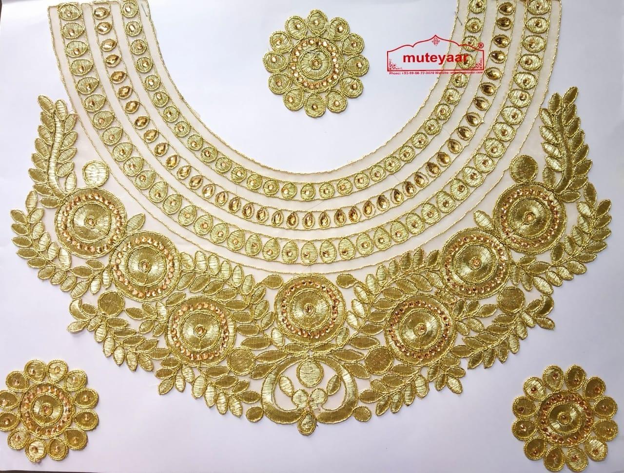 Golden Zari Round Heavy Neck Patch with Kundan Work for Kurti MT0030 1