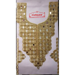 Golden Zari Long Neck Patch with Mirror Work for Kurti MT0031