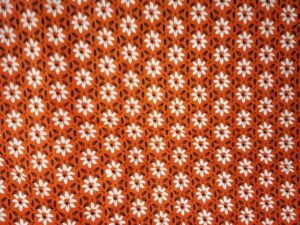 White Small Flowers on Orange Base Printed Cotton Fabric for bottom / Kurti PC400
