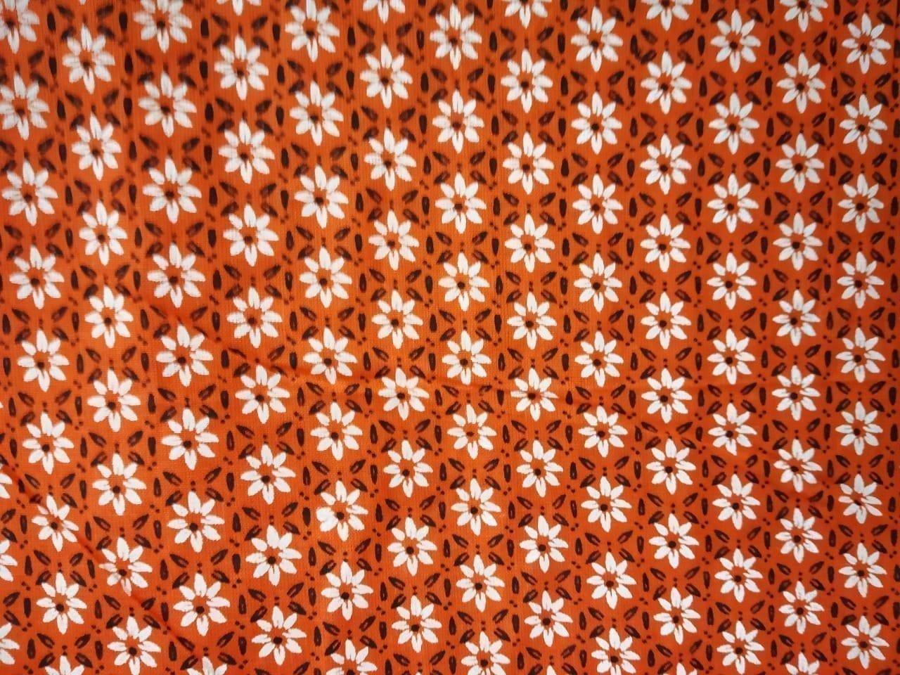 White Small Flowers on Orange Base Printed Cotton Fabric for bottom / Kurti PC400 1