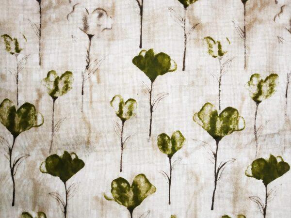 Mehendi Green Flowers allover print Pure cotton for bottom / Kurti (per meter price) PC406