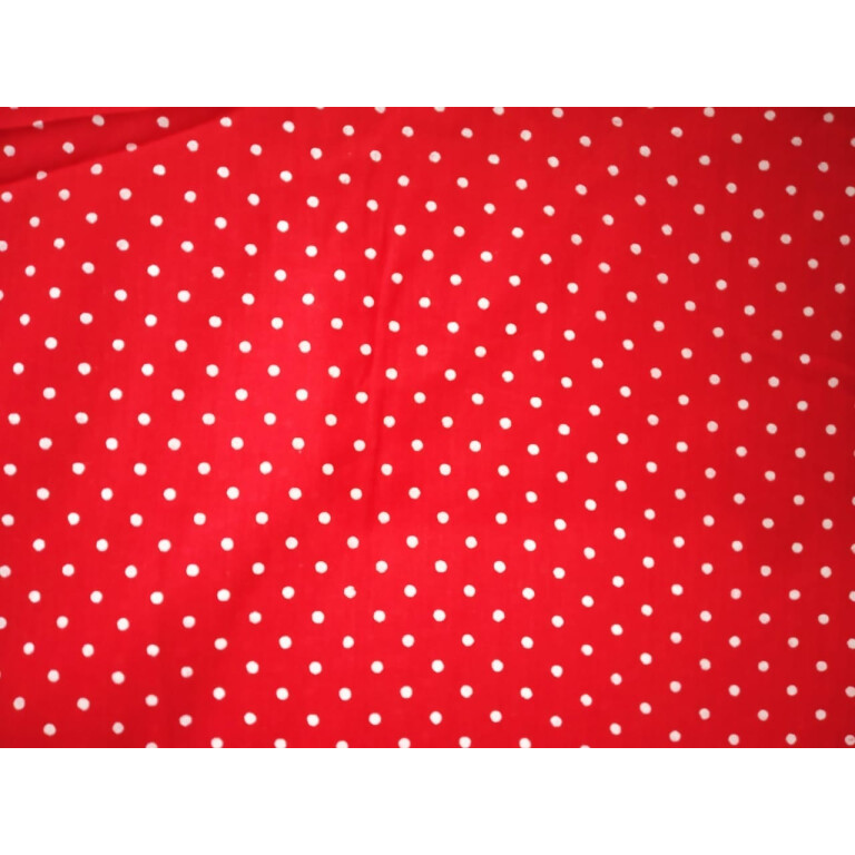 Redbase white polka dots print Pure cotton for bottom / Kurti (per meter price) PC407