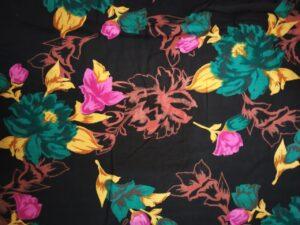 Black Base Multicolour allover print Pure cotton for bottom / Kurti PC412