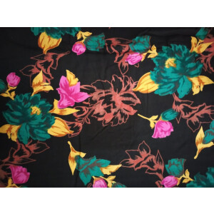 Black Base Multicolour allover print Pure cotton for bottom / Kurti PC412