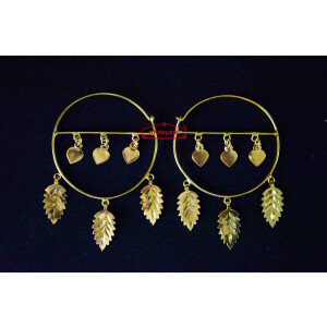 Gold Polished Pippal Pattiyaan Earrings set for giddha bhangra J0451