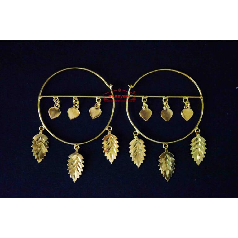 Gold Polished Pippal Pattiyaan Earrings set for giddha bhangra J0451