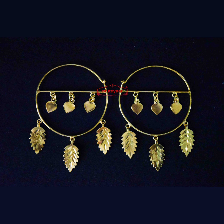 Gold Polished Pippal Pattiyaan Earrings set for giddha bhangra J0451 1
