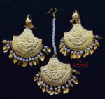 Gold Polished Punjabi Earrings Tikka set with white moti beads J0460