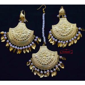 Gold Polished Punjabi Earrings Tikka set with white moti beads J0460