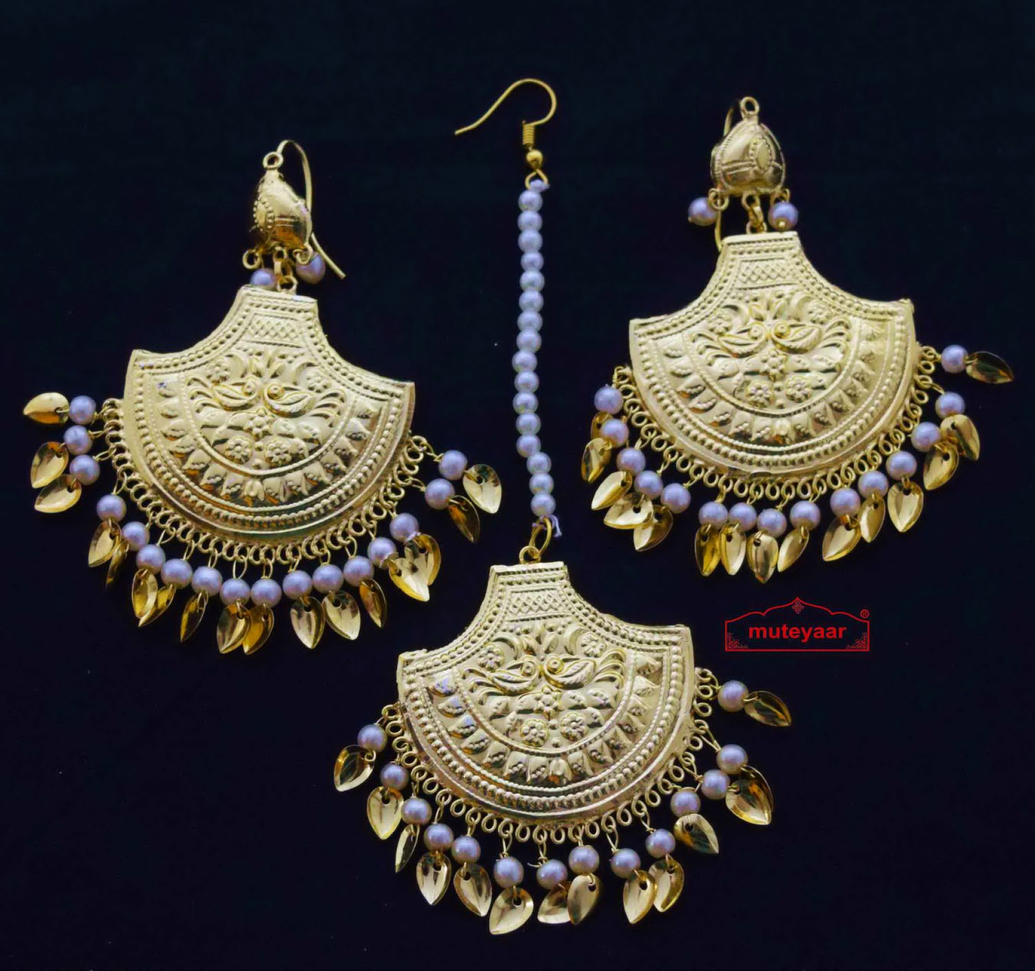 Gold Polished Punjabi Earrings Tikka set with white moti beads J0460 1