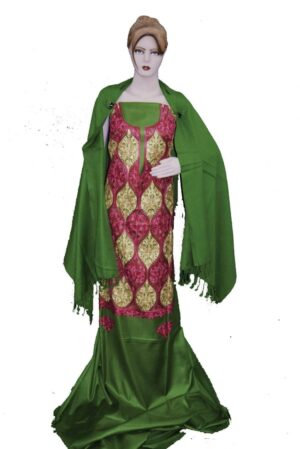 Green Kashmiri Embroidered Semi Pashmina Salwar Suit Fabric with Stole C0692