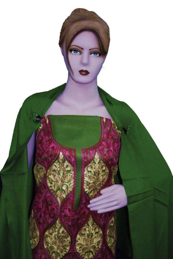 Green Kashmiri Embroidered Semi Pashmina Salwar Suit Fabric with Stole C0692