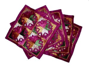 Set of 5 hand embroidered PHULKARI cushion covers CC006