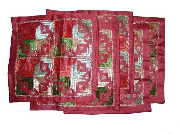 Set of 5 hand embroidered PHULKARI cushion covers CC012