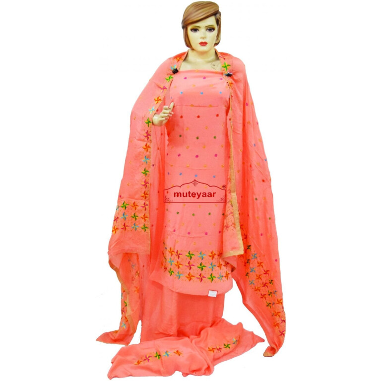 Peach PURE CREPE Wedding  PHULKARI Suit CHINON DUPATTA F0722