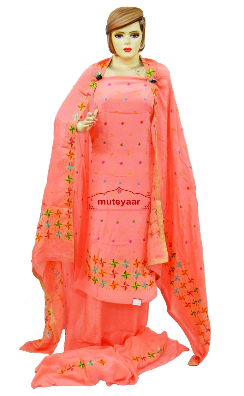 Peach PURE CREPE Wedding  PHULKARI Suit CHINON DUPATTA F0722 1