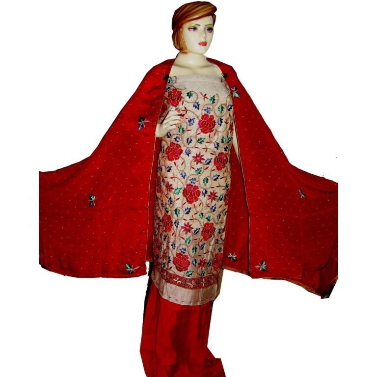 Tissue Cotton/Makhmali Suit pure chinon dupatta JAAL EMBR. H0069