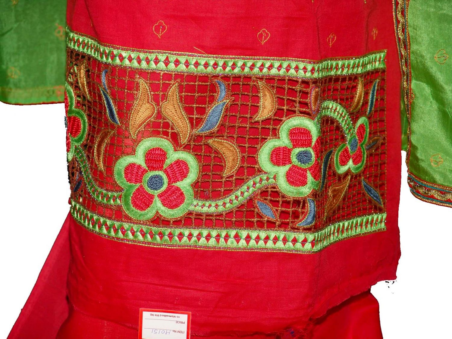 Pure LINEN Cotton Hand Embroidered Suit PURE CHINON Chunni H0151 2