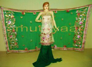 FULL PATIALA PURE Brochier Hand Emb PUNJABI BRIDAL Suit CHINON Chunni H0165
