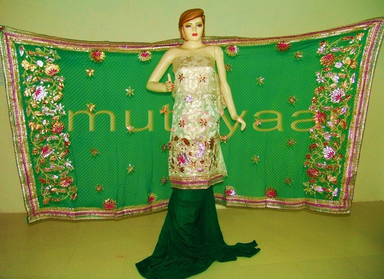 FULL PATIALA PURE Brochier Hand Emb PUNJABI BRIDAL Suit CHINON Chunni H0165 1