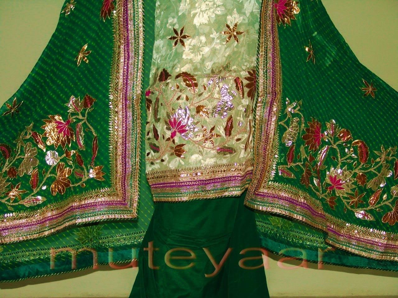 FULL PATIALA PURE Brochier Hand Emb PUNJABI BRIDAL Suit CHINON Chunni H0165 3