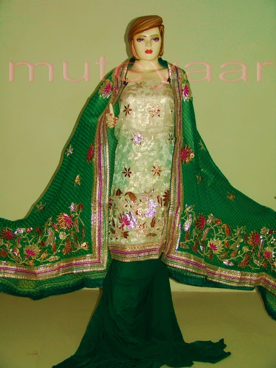FULL PATIALA PURE Brochier Hand Emb PUNJABI BRIDAL Suit CHINON Chunni H0165 4