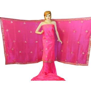 Pink PURE SILK Gota Patti work Salwar Kameez Suit CHINON DUPATTA H0193